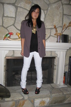 moms blazer - Zara top - Earnest Sewn jeans - forever 21 necklace - Marc Jacobs