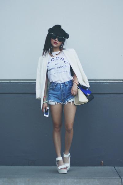 white blazer - Levis shorts