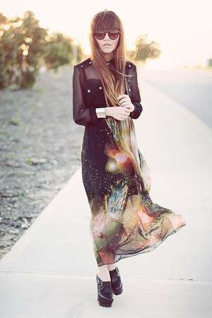 supre shirt - galaxy skirt - wedges