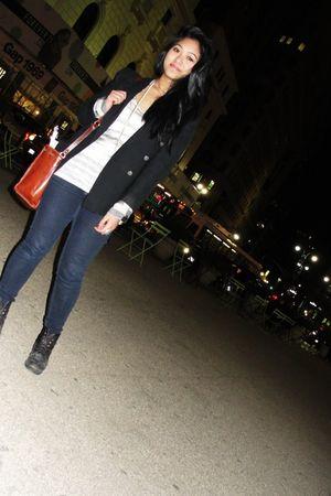 nicole miller blazer - strawberry jeans - Forever 21 shirt - Forever 21 shirt -