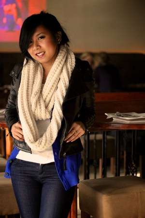 ivory Forever 21 scarf - black leather jacket Mackage jacket - blue H&M cardigan