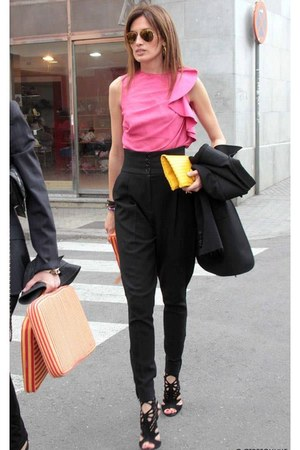 black jacket - yellow bag - black pants - black heels - bubble gum blouse