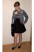 hm t-shirt - hm skirt - hm shoes - second hand jacket