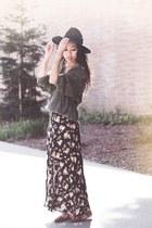 black maxi dress brandy melville dress - black wool Jigsaw London hat