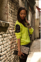 chartreuse royal mint sweater - brown Charlotte Russe bag