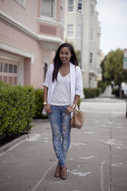 white Bar III blazer - blue BDG jeans - white Macys t-shirt