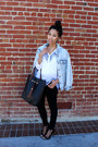 Light-blue-jean-lulus-jacket-black-lace-up-zara-heels-black-jeans-zara-pants