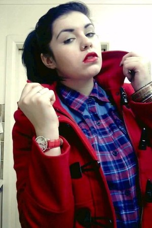 coral Micheal Hill watch - red Revival coat - blue SKAP shirt