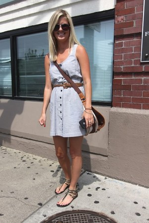 sky blue dress - brown bag - brown belt - black flats
