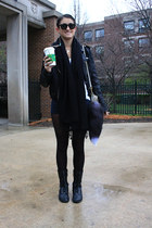 black lace up boots boots - black tights - beige purse Miu Miu bag - sky blue ea