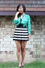 Green-pitaya-top-black-h-m-skirt