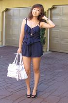 blue Forever 21 Better B - white Claires purse - black Fioni shoes - gold Foreve