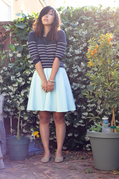 light blue mint dress - navy striped sweater