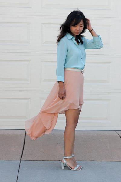 peach skirt - light blue mint blouse