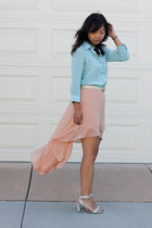peach skirt - light blue mint blouse