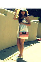 white Forever 21 dress - white predictions shoes - pink Forever 21 purse - white