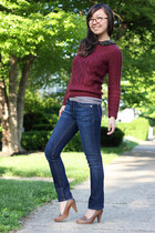 brick red H&M sweater - navy petite DL 1961 jeans - dark brown firmoo glasses
