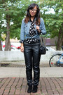 Blue-chambray-denim-h-m-shirt-black-polka-dot-h-m-shirt