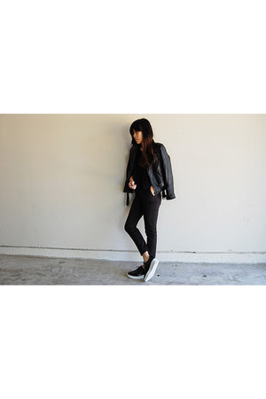 black Stylenanda shoes - black leather MadeMe jacket - black acne t-shirt