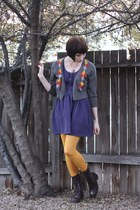 thrifted boots - Urban Outfitters dress - HUE tights - thrifted cardigan - Aroha