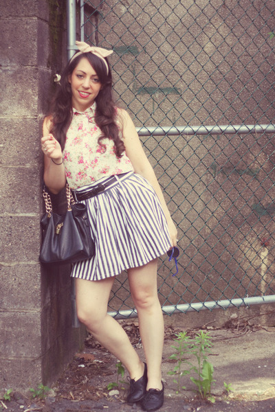 thrifted skirt - rainbow blouse - American Apparel hair accessory