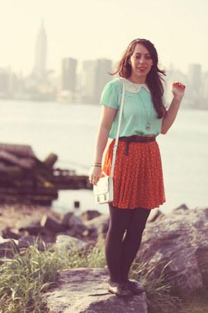 aquamarine Forever 21 blouse - white H&M bag - carrot orange Uniqlo skirt