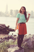aquamarine Forever 21 blouse - white H&M bag - carrot orange Uniqlo skirt