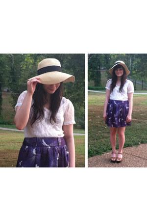 neutral wide brim hat - white lace top - purple birds skirt