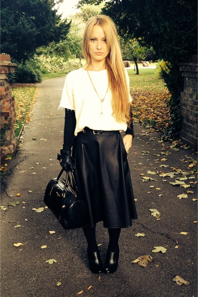 black leather River Island boots - black H&M tights