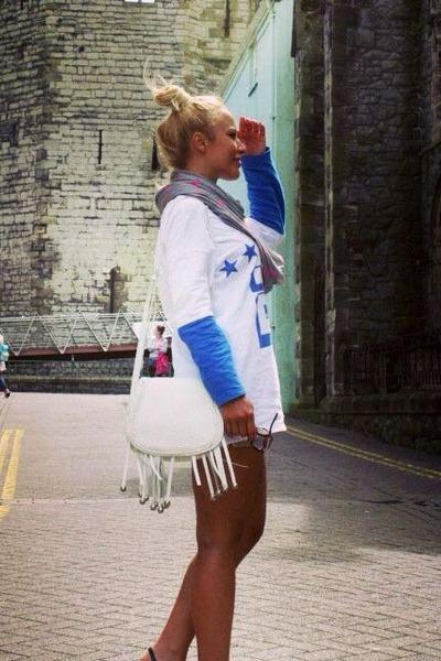 white leather fringe Miss Selfridge bag - white River Island blouse