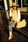 Camel-miss-selfridge-boots-black-white-h-m-jeans-tan-wool-asos-hat