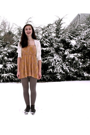 nude Urban Outfitters dress - dark brown JC Penny boots