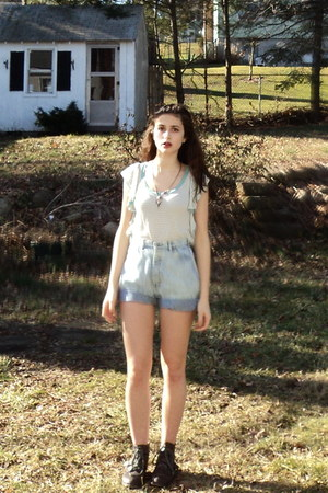 light blue thrifted vintage shorts - eggshell striped Thrift Store shirt