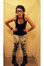 black top - Pac Sun pants - black Dollhouse boots - black Hot Topic glasses - wh