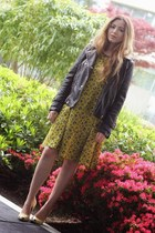yellow Zara heels - black leather River Island jacket
