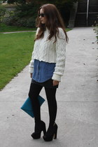 white knit DIY sweater - blue denim BDG shirt - sky blue clutch asos bag