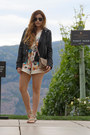 Black-leather-river-island-jacket-off-white-floral-renamed-romper