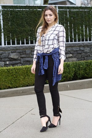 black Zara jeans - navy Zara shirt - white Zara blouse - black Nasty Gal heels