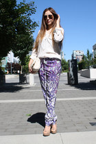light purple H&M pants - white Zara blouse