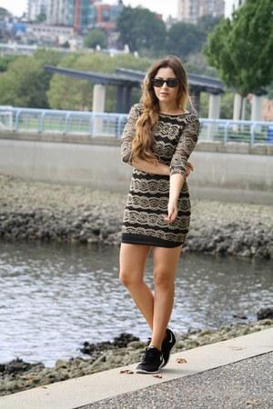 beige River Island dress - black nike sneakers