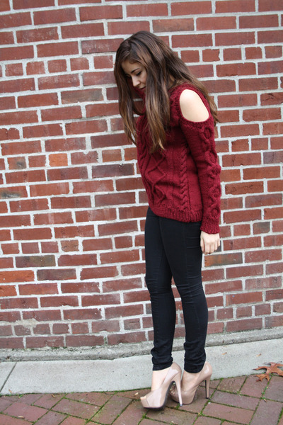 beige Aldo heels - brick red DIY sweater - black Silence & Noise pants