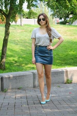 teal leather H&M skirt - aquamarine Aldo heels