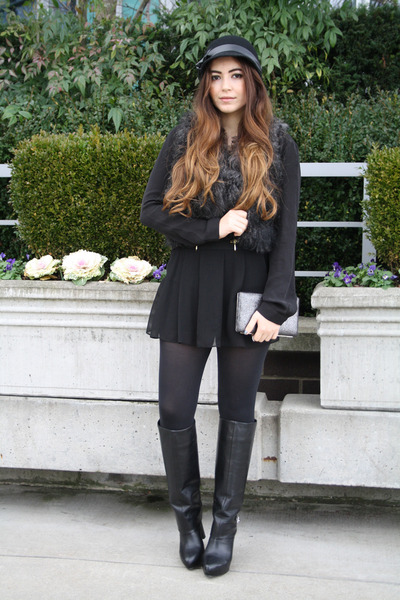 Black-zara-boots-black-skort-zara-skirt-black-faux-fur-asos-vest