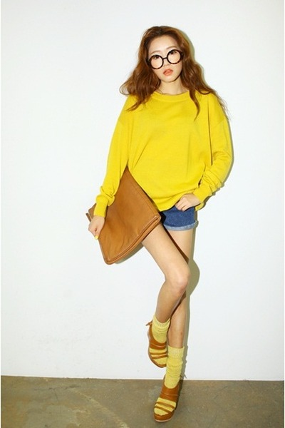 yellow sweater - navy shorts