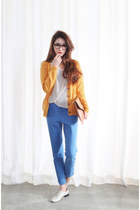 light orange Style Nanda cardigan - white Forever 21 shirt