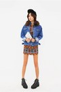 Bronze-dress-blue-denim-jacket