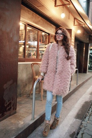 bronze boots - light pink coat - sky blue jeans - ivory shirt - black glasses