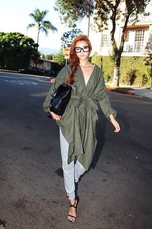 olive green safari Stylenanda jacket - black bag - silver pants