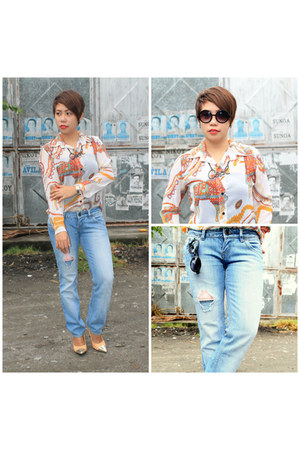 red sheer random from Bangkok blouse - sky blue Folded and Hung jeans