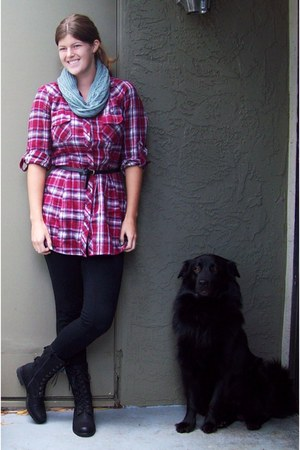red Charlotte Russe shirt - black Target leggings - heather gray Forever 21 scar